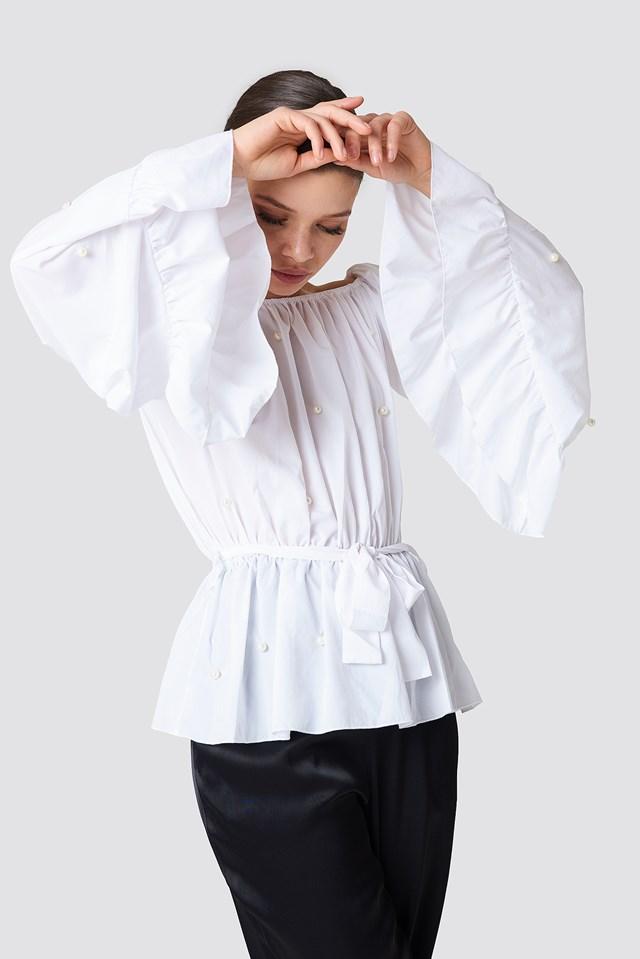 Pearl Ruffle Blouse White