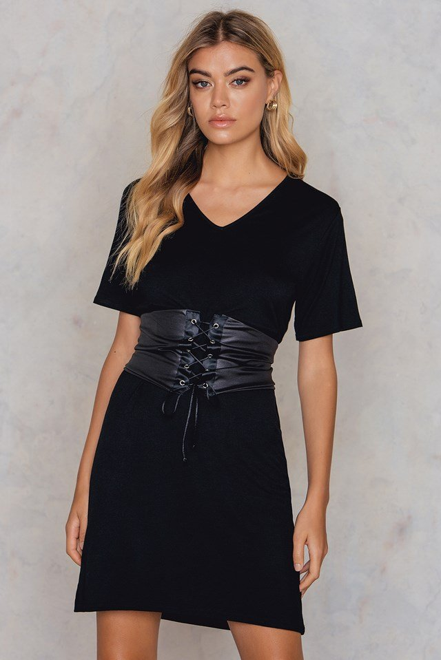 Petite Corset T-Shirt Dress Black