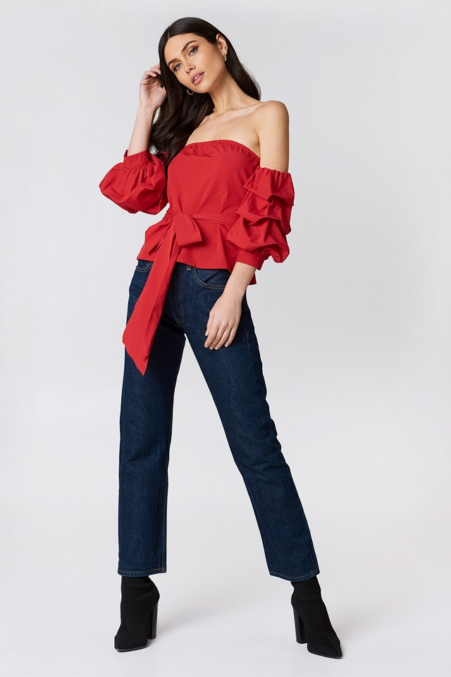 Ruched Sleeve Bardot Top Red
