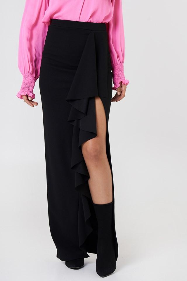 Ruffle Front Maxi Skirt Black