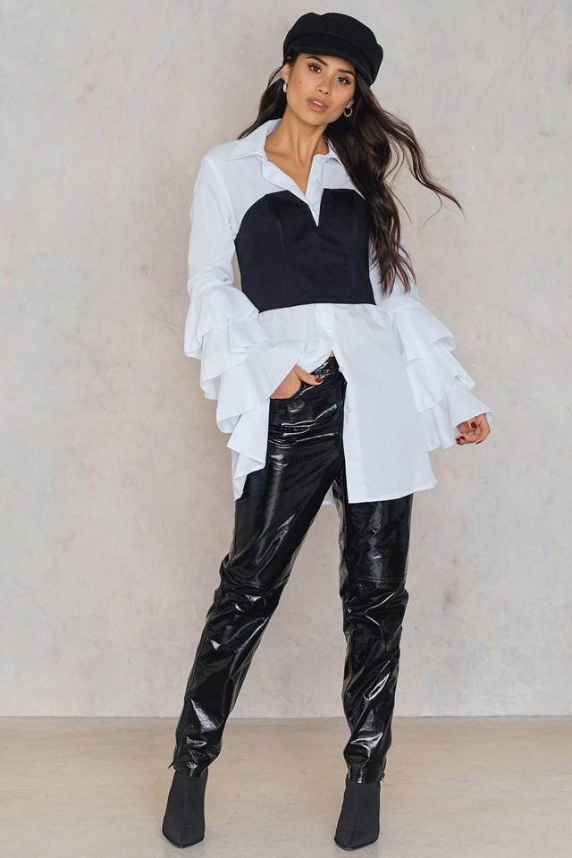 Ruffle Sleeve Shirt Dress White