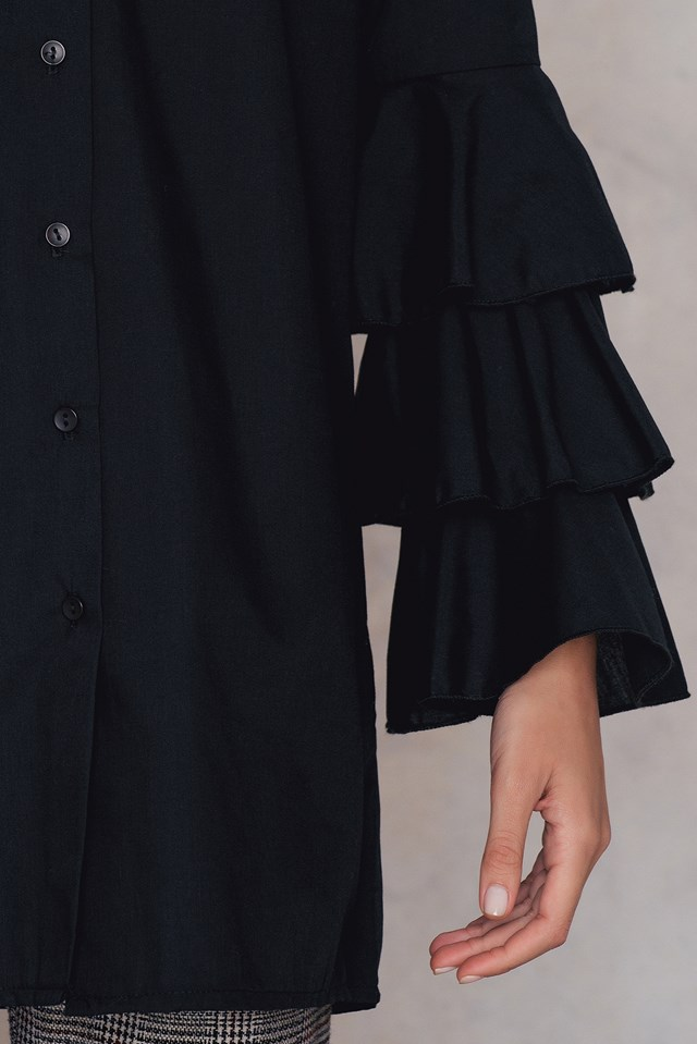 Ruffle Sleeve Shirt Dress Black