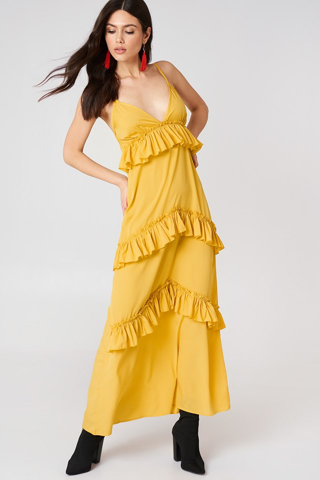 Ruffle Strap Maxi Dress Ochre