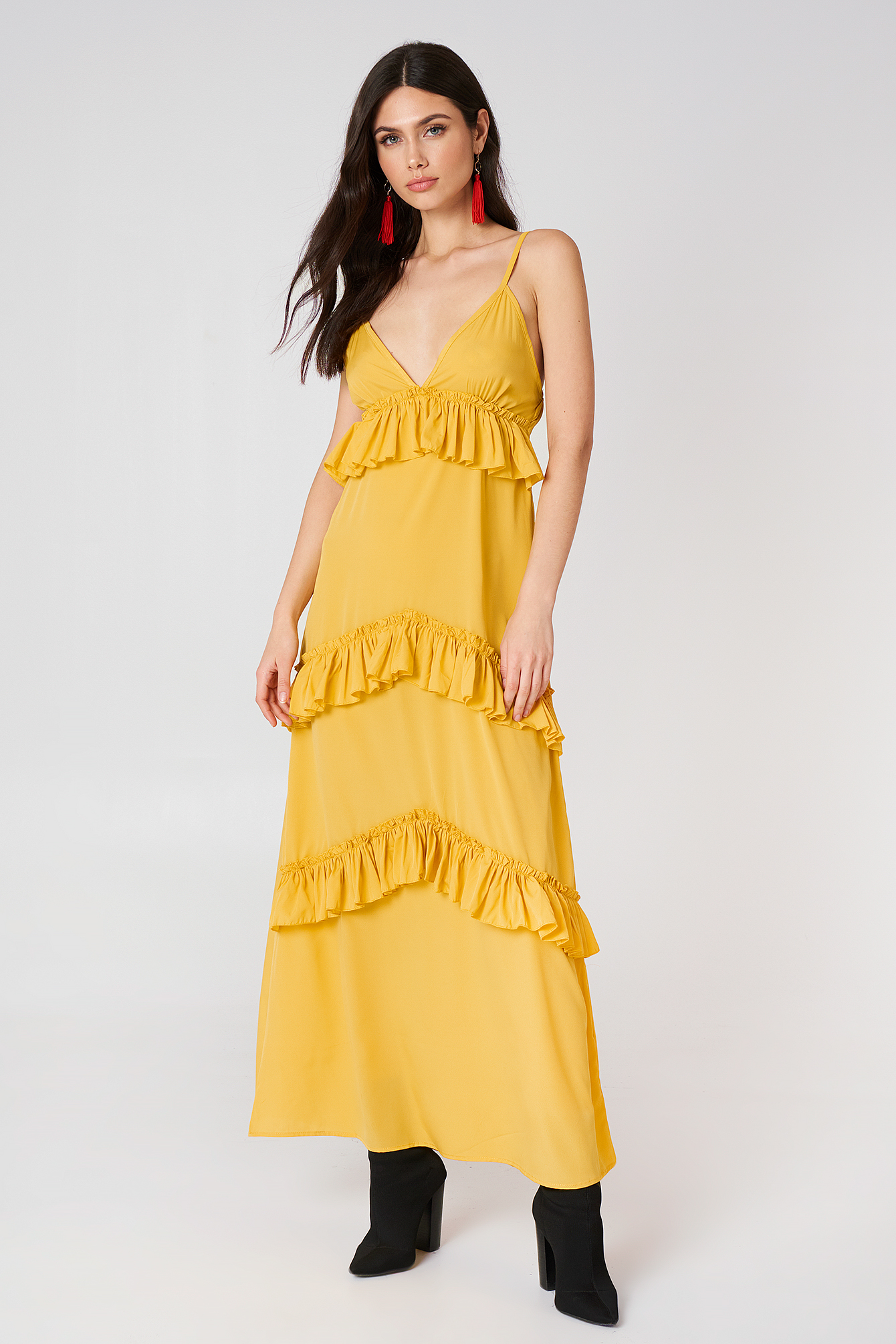 Ruffle Strap Maxi Dress NA-KD.COM
