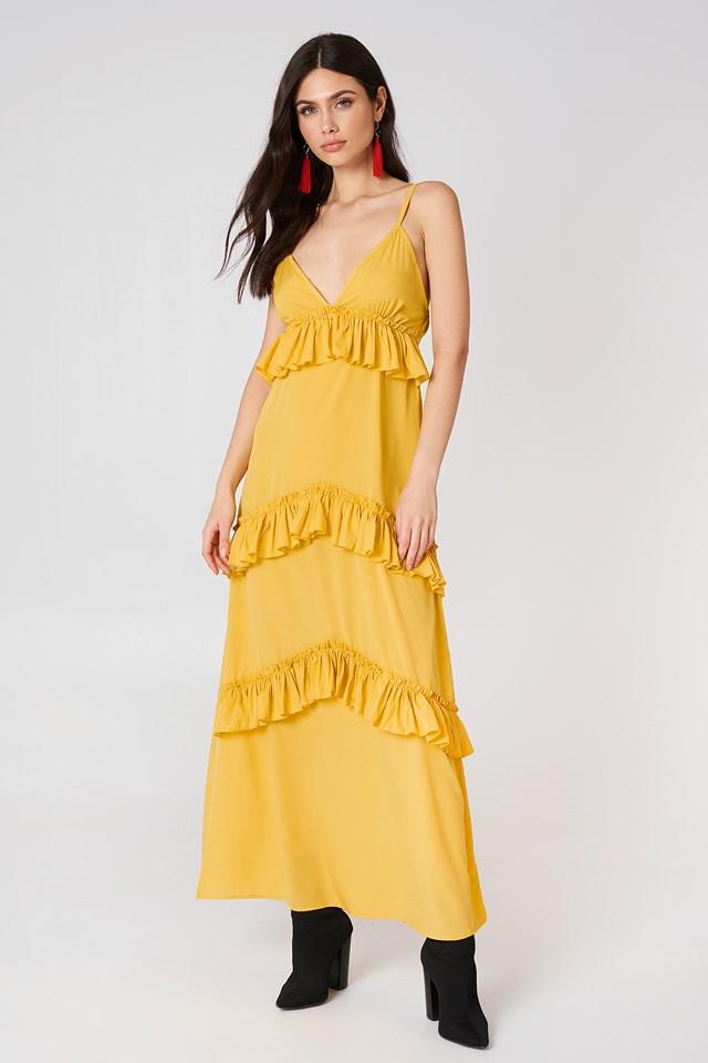Ruffle Strap Maxi Dress Ochre