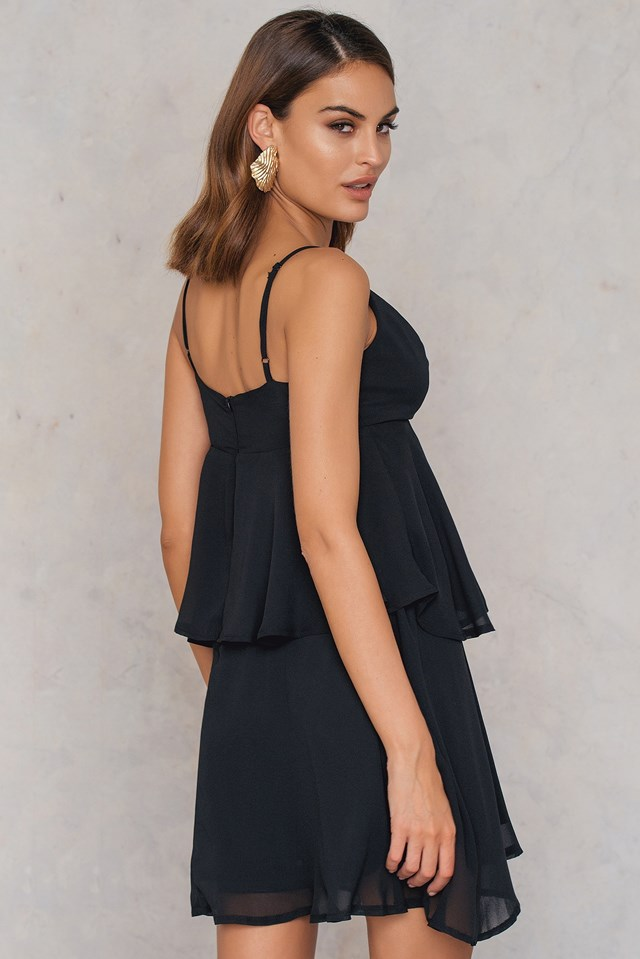 Ruffle Strappy Sundress Black