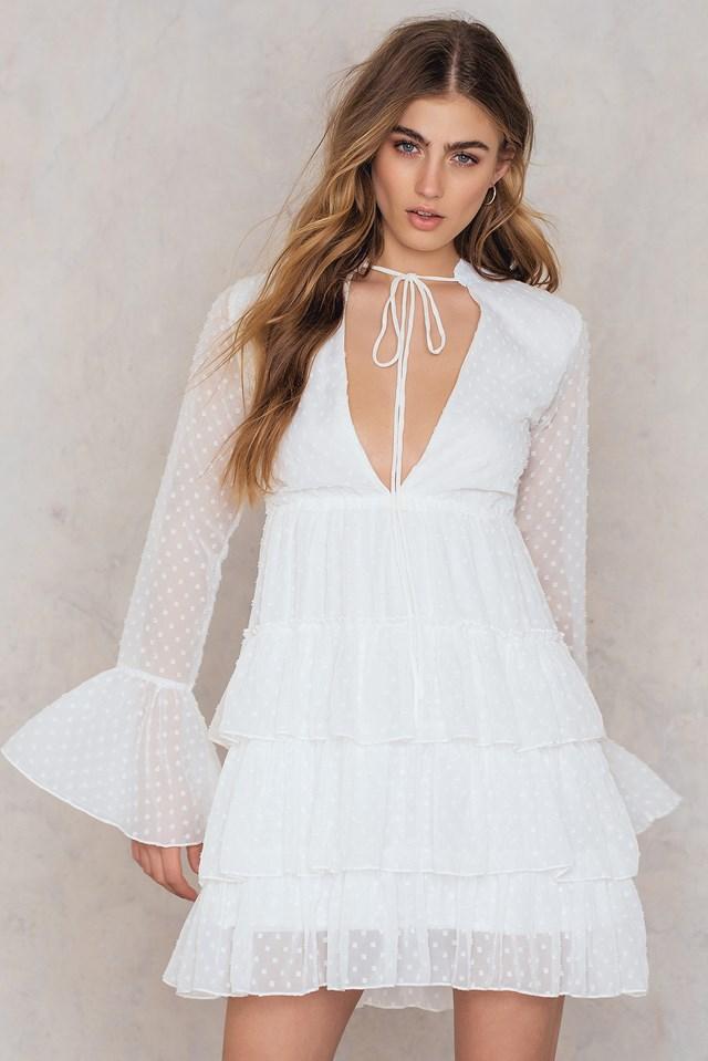 Ruffle Tiered Dress White