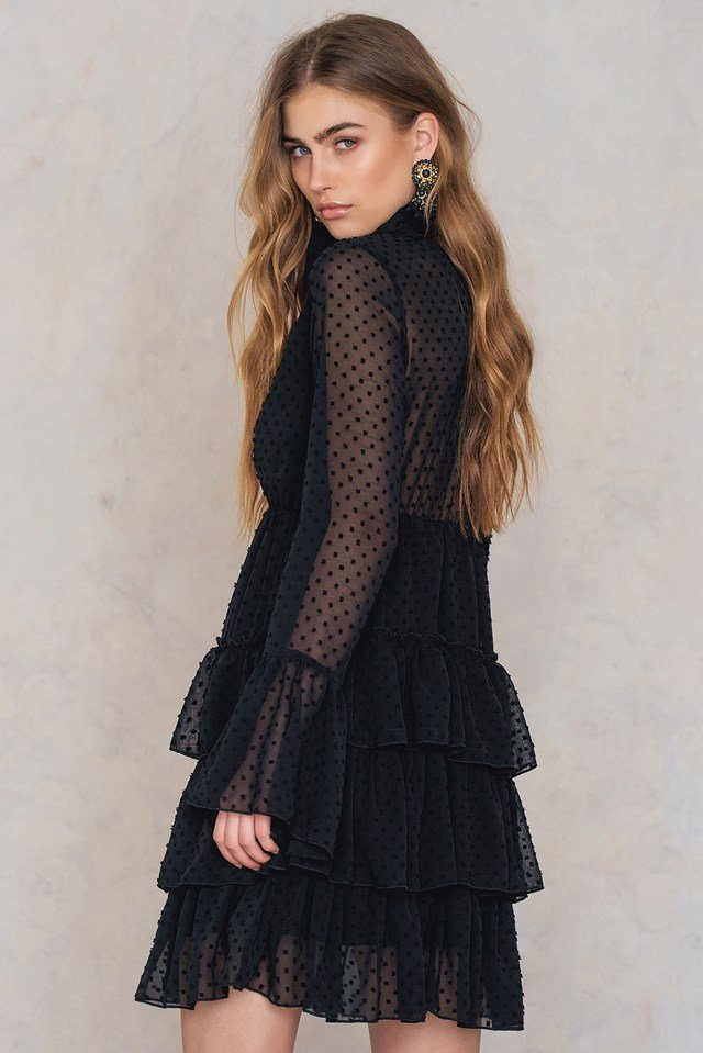 Ruffle Tiered Dress Black