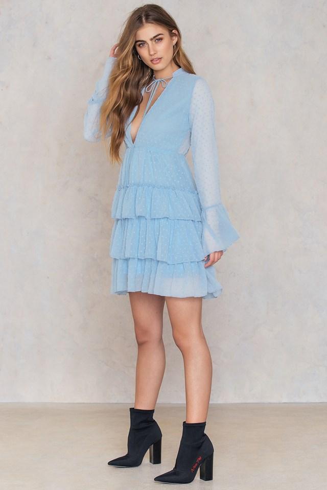 Ruffle Tiered Dress Blue