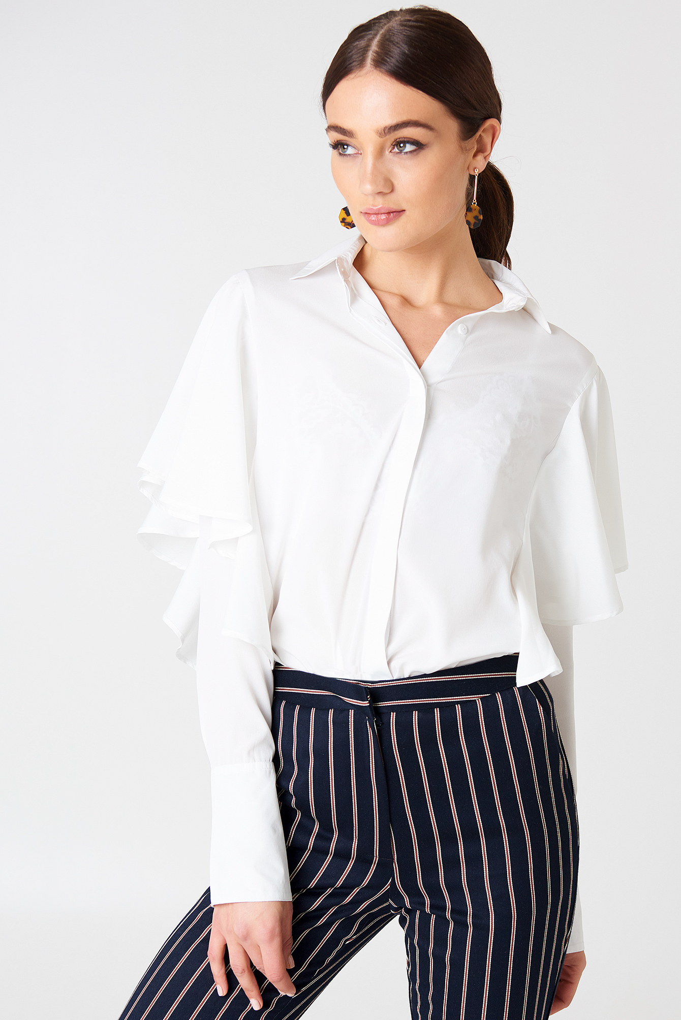 Ruffle Wide Sleeve Shirt NA-KD.COM