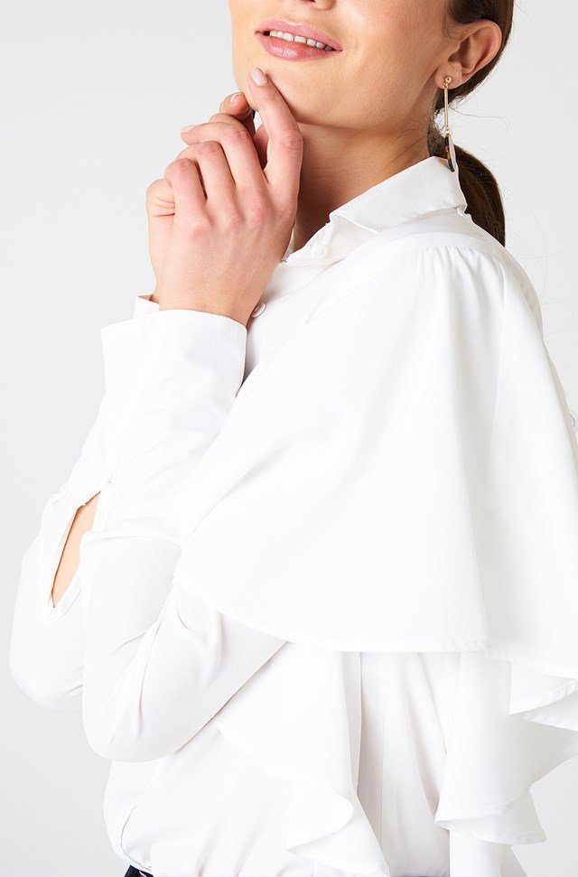 Ruffle Wide Sleeve Shirt Ivory