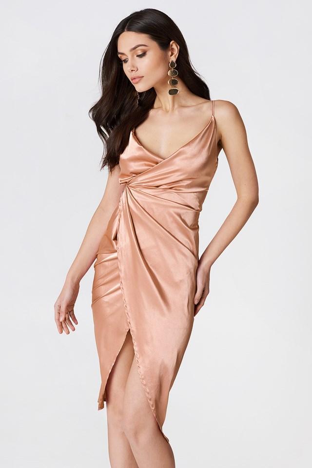Satin Strappy Dress Rose