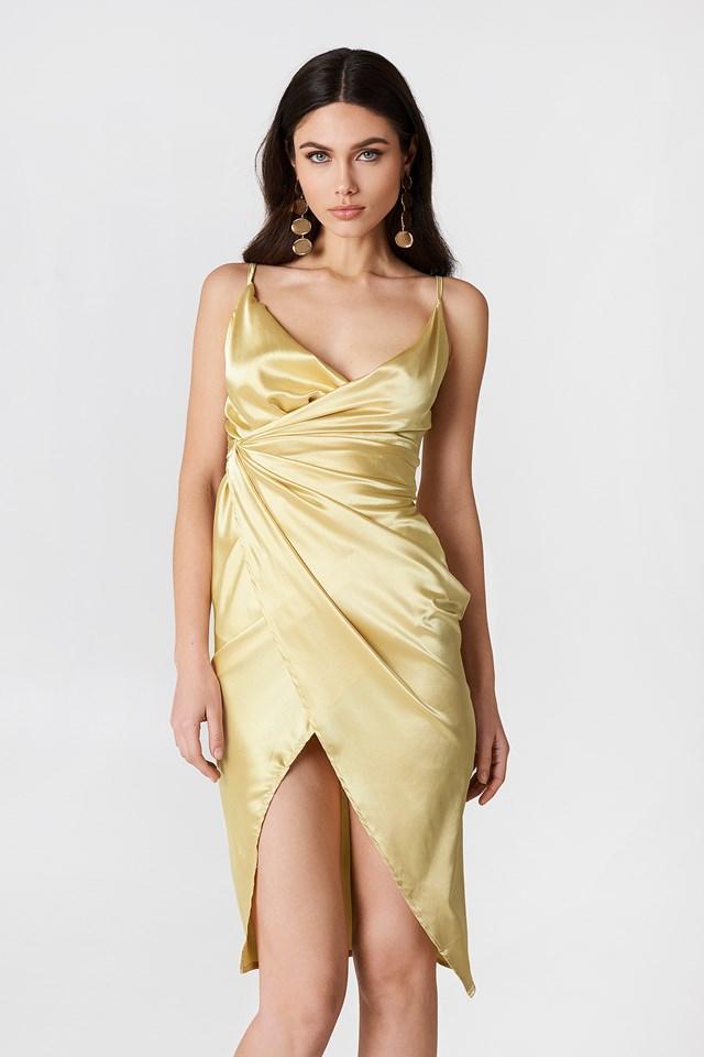 Satin Strappy Dress Bronze