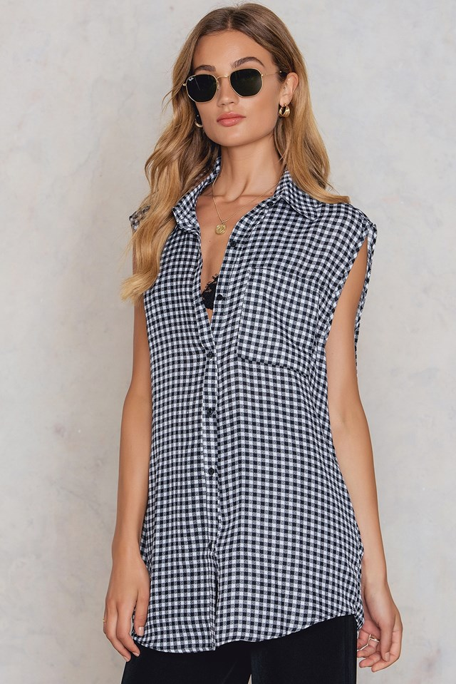 Sleeveless Gingham Shirt Black/White