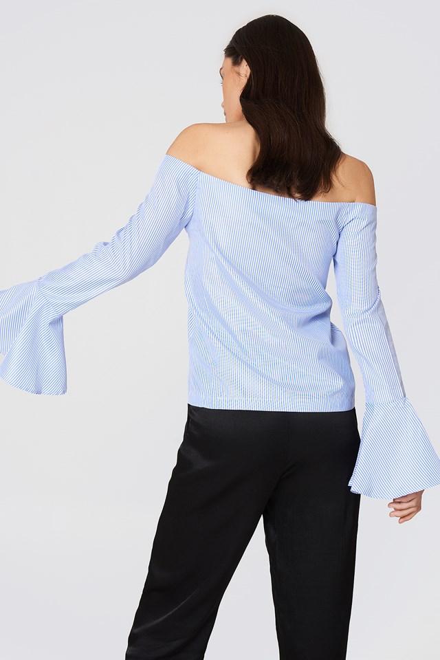 Striped Bardot Shirt Multi