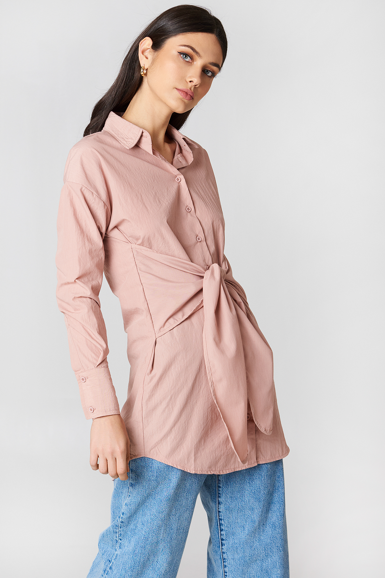 Tie Front Shirt Dress NA-KD.COM