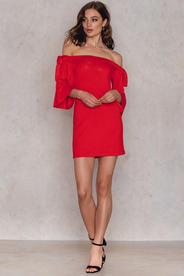 Sukienka Tie Bardot Red