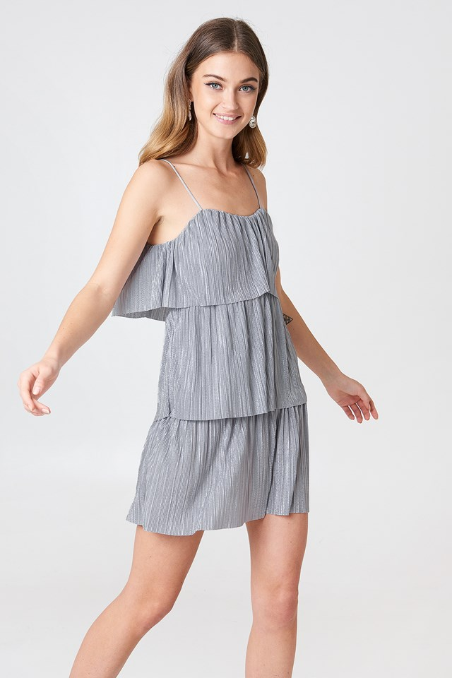 Tie Pleated Dress Grey