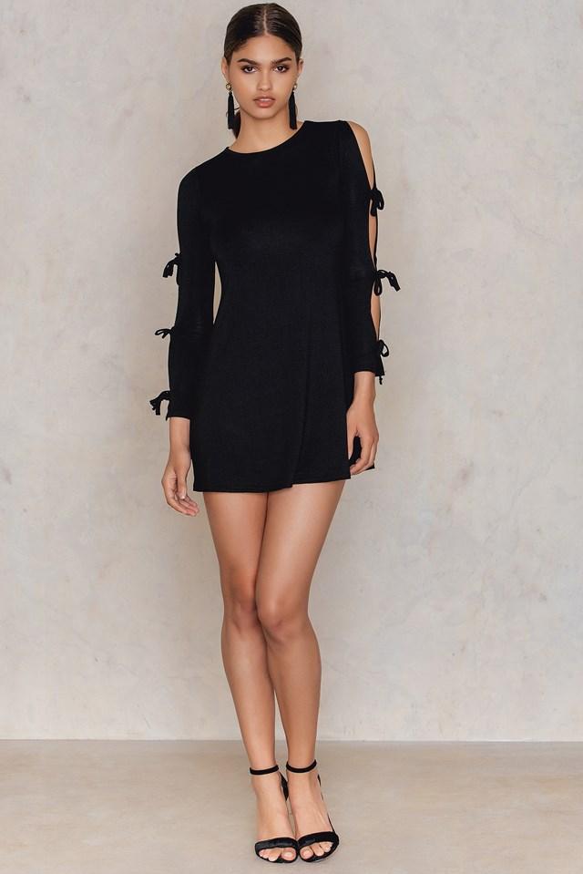Tie Sleeve Swing Dress Black