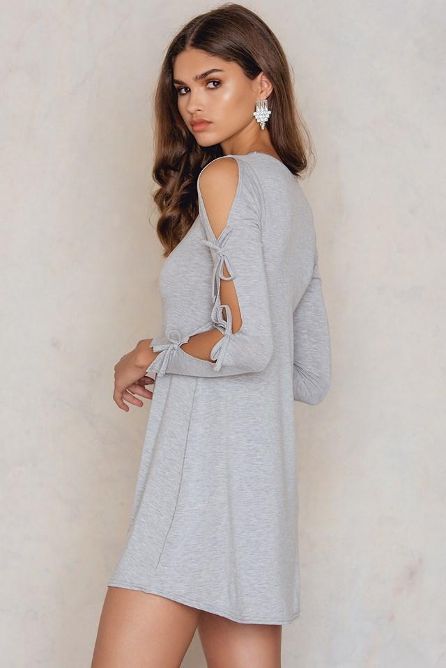 Tie Sleeve Swing Dress Grey