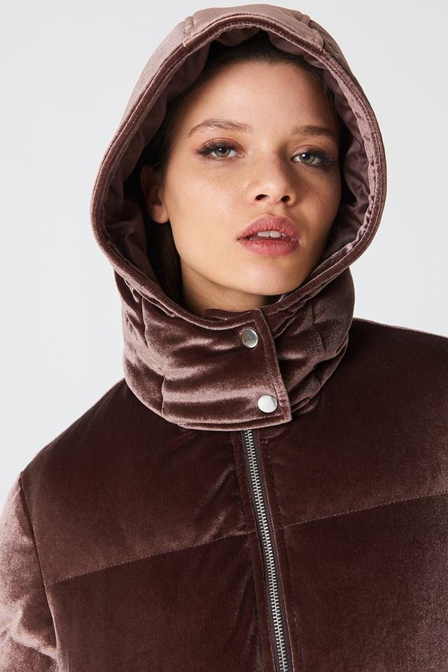 Velvet Padded Jacket Mocha