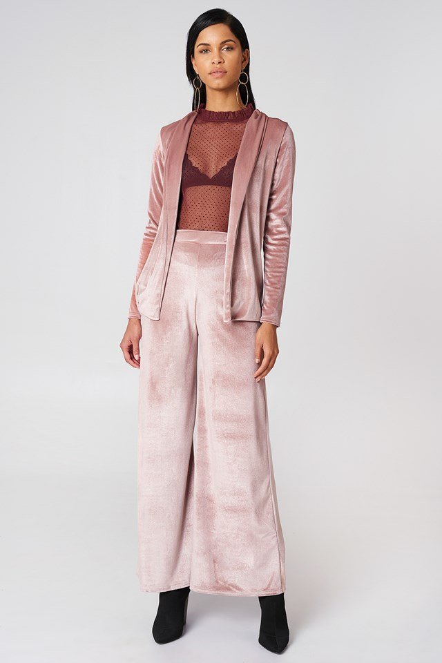 Velvet Wide Leg Trouser Rose