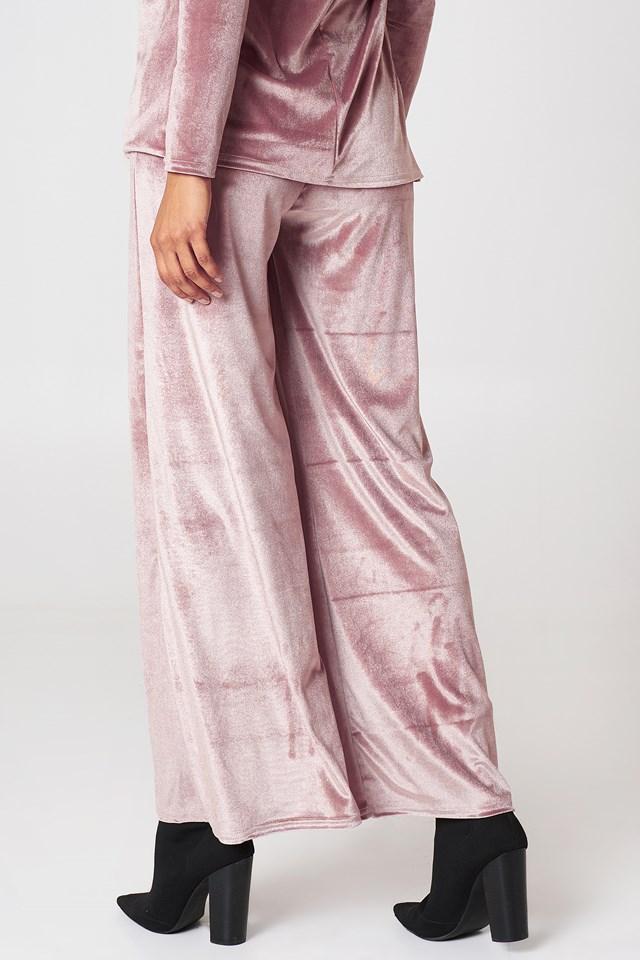 Velvet Wide Leg Trouser Rose