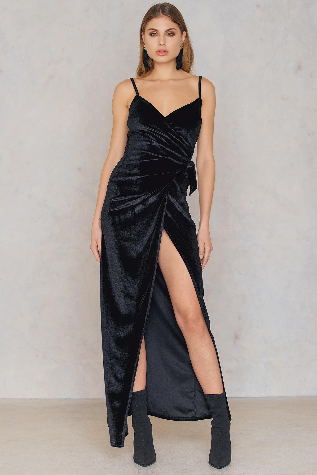 Velvet Wrap Tie Maxi Dress Black by Boohoo