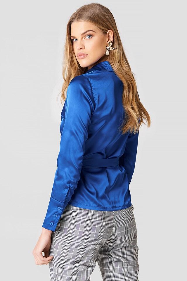 Wrap Front Shirt Cobalt