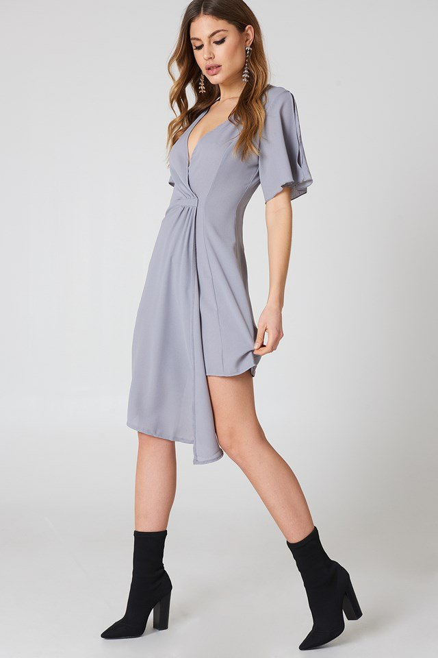 Wrap Occasion Dress Grey