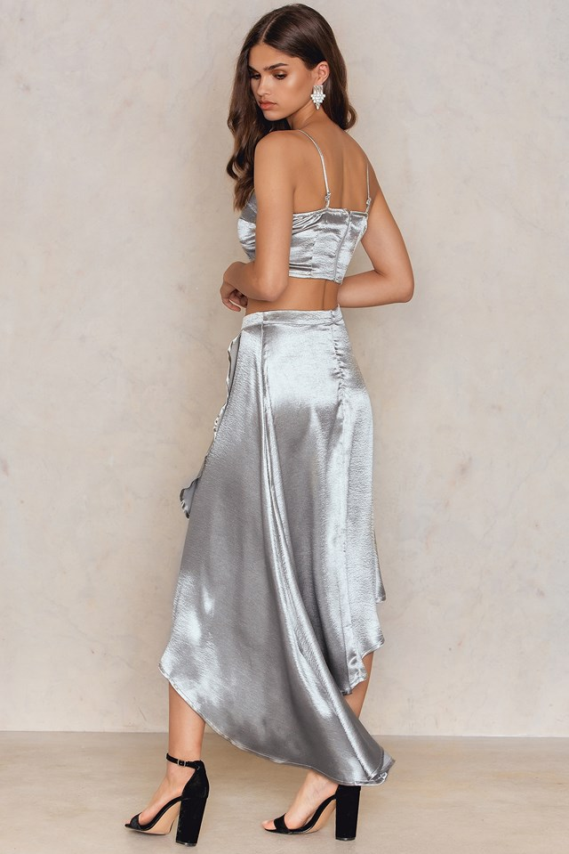 Wrap Skirt & Bralet Co-ord Silver