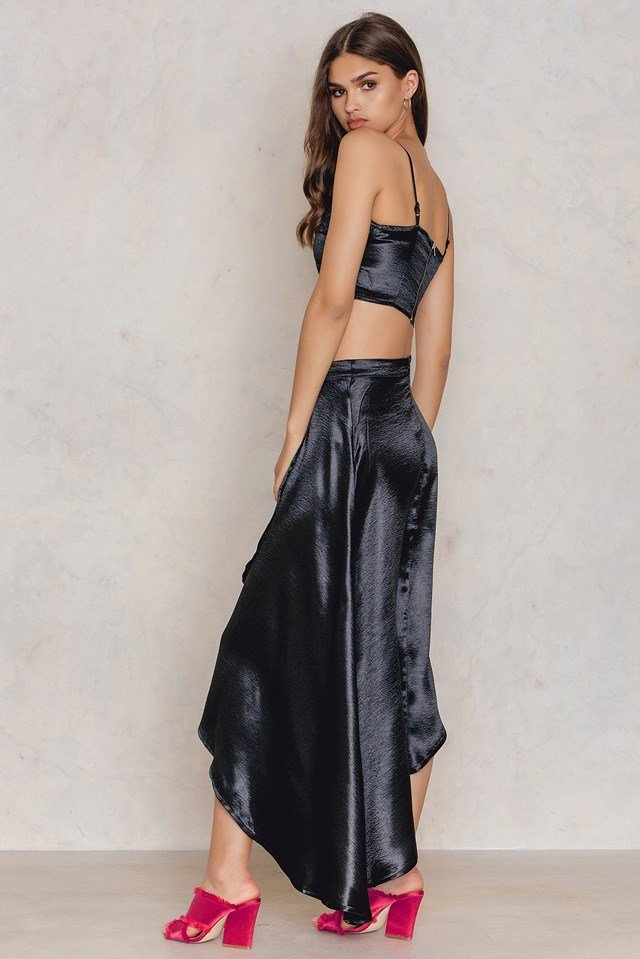 Wrap Skirt & Bralet Co-ord Black