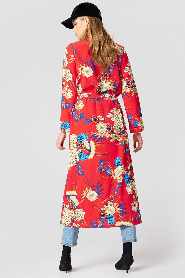 Floral Maxi Kimono Red