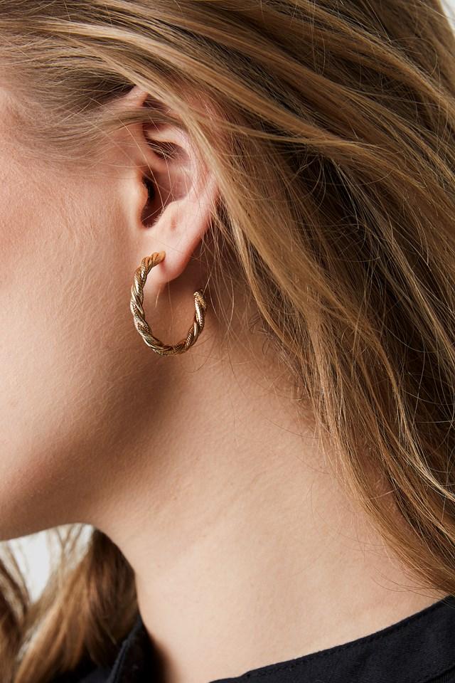 Braided Earrings Set Gold
