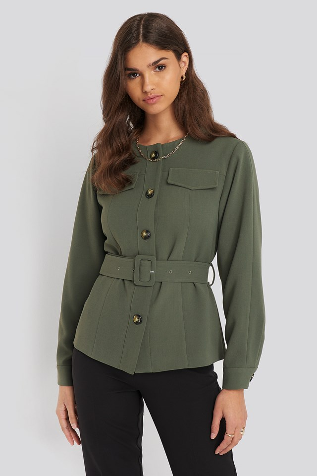 Buckle Belted Jacket NA-KD Classic