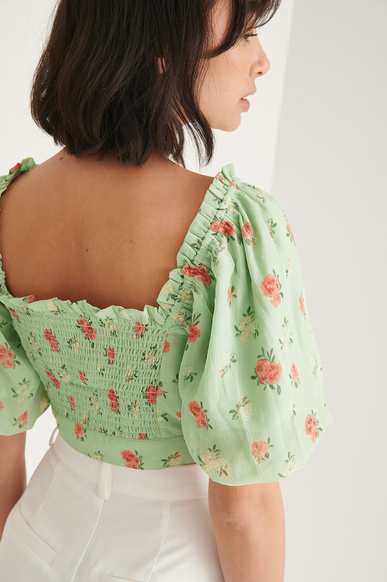 Green Flower Cropped Top Met Franjedetail