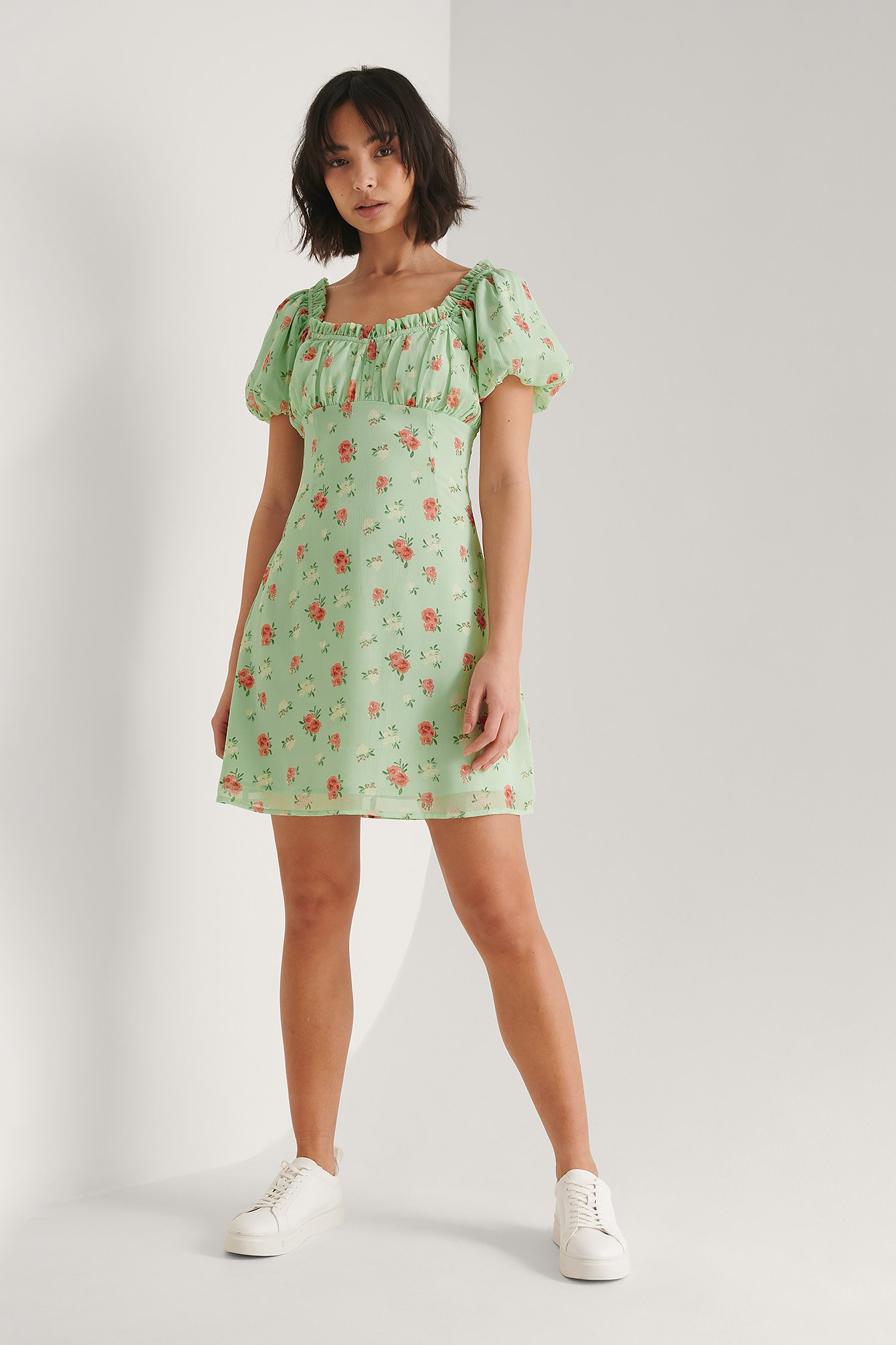 Green Flower Midi-Jurk Met Ruches
