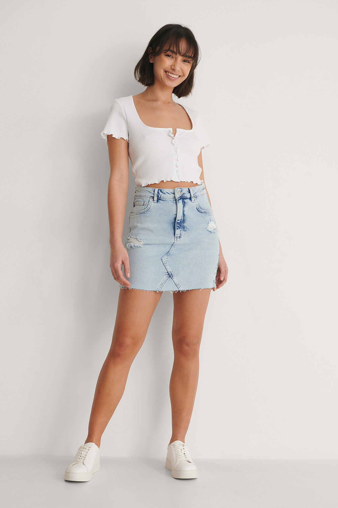 Light Blue Denim Organisch Mini Denimrok