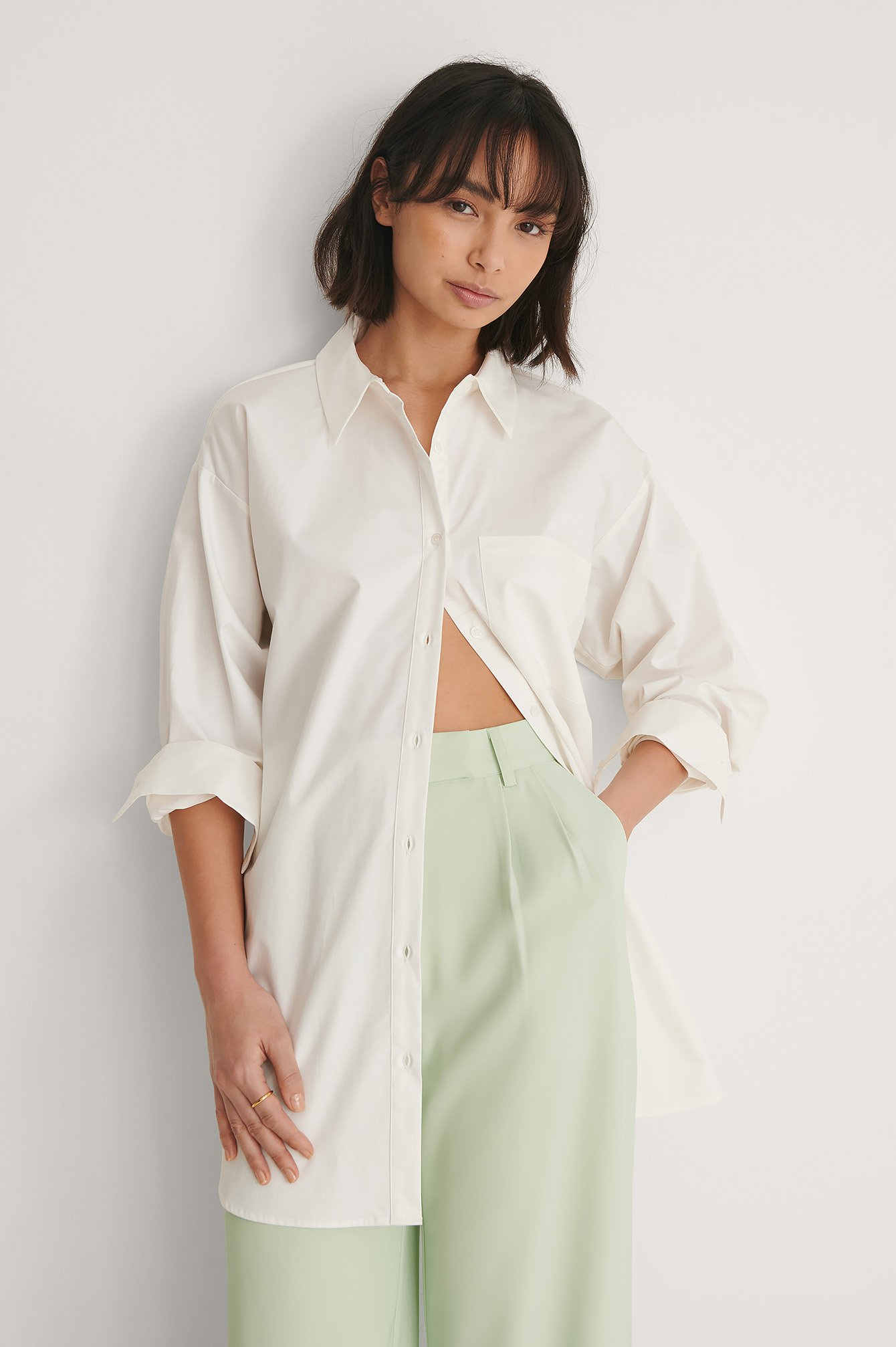 White Gerecycleerd Oversized Katoenen Shirt