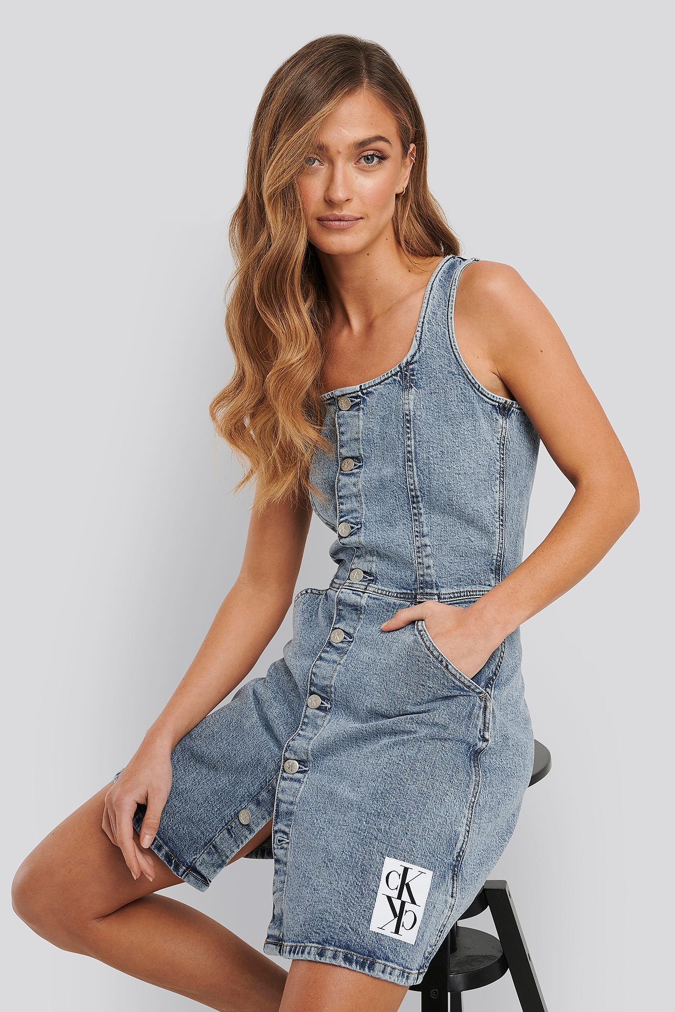 Calvin Klein Button Down Tank Dress - Blue