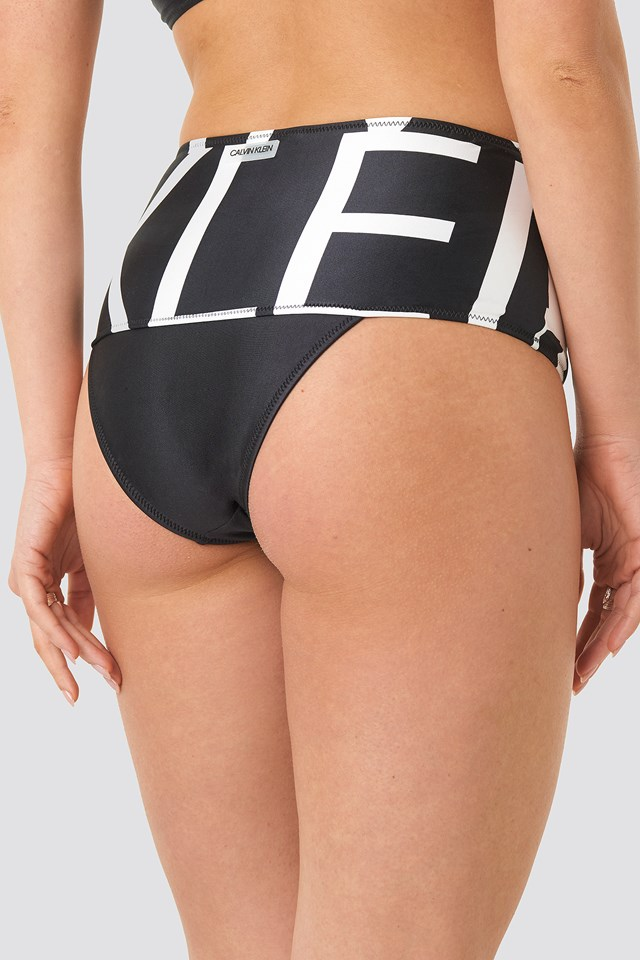 Cheeky High Rise Bikini Klein Abstract Black