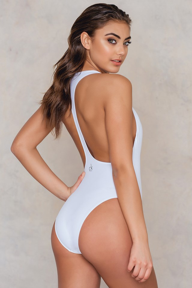 Cheeky Racer Back One Piece White