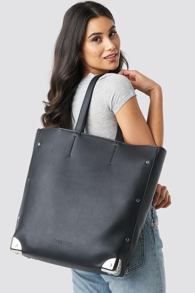 Ck Lock Shopper Tote Bag Black