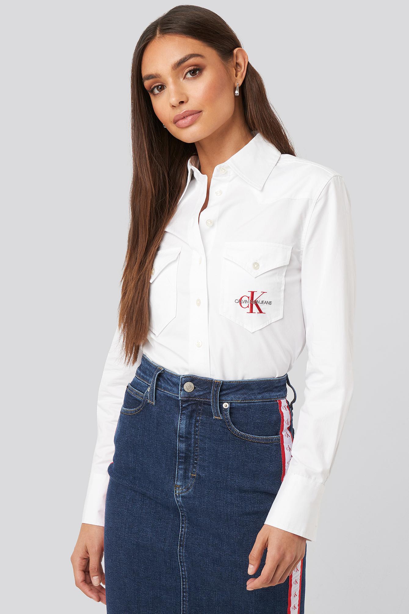 calvin klein -  Cotton Satin Western Crop Shirt - White