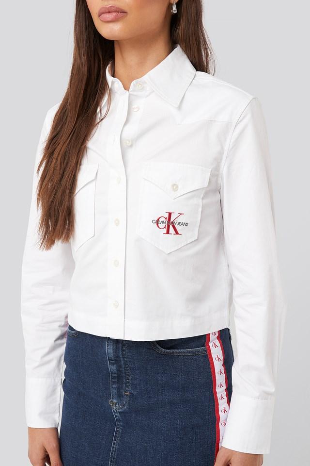 Cotton Satin Western Crop Shirt Bright White