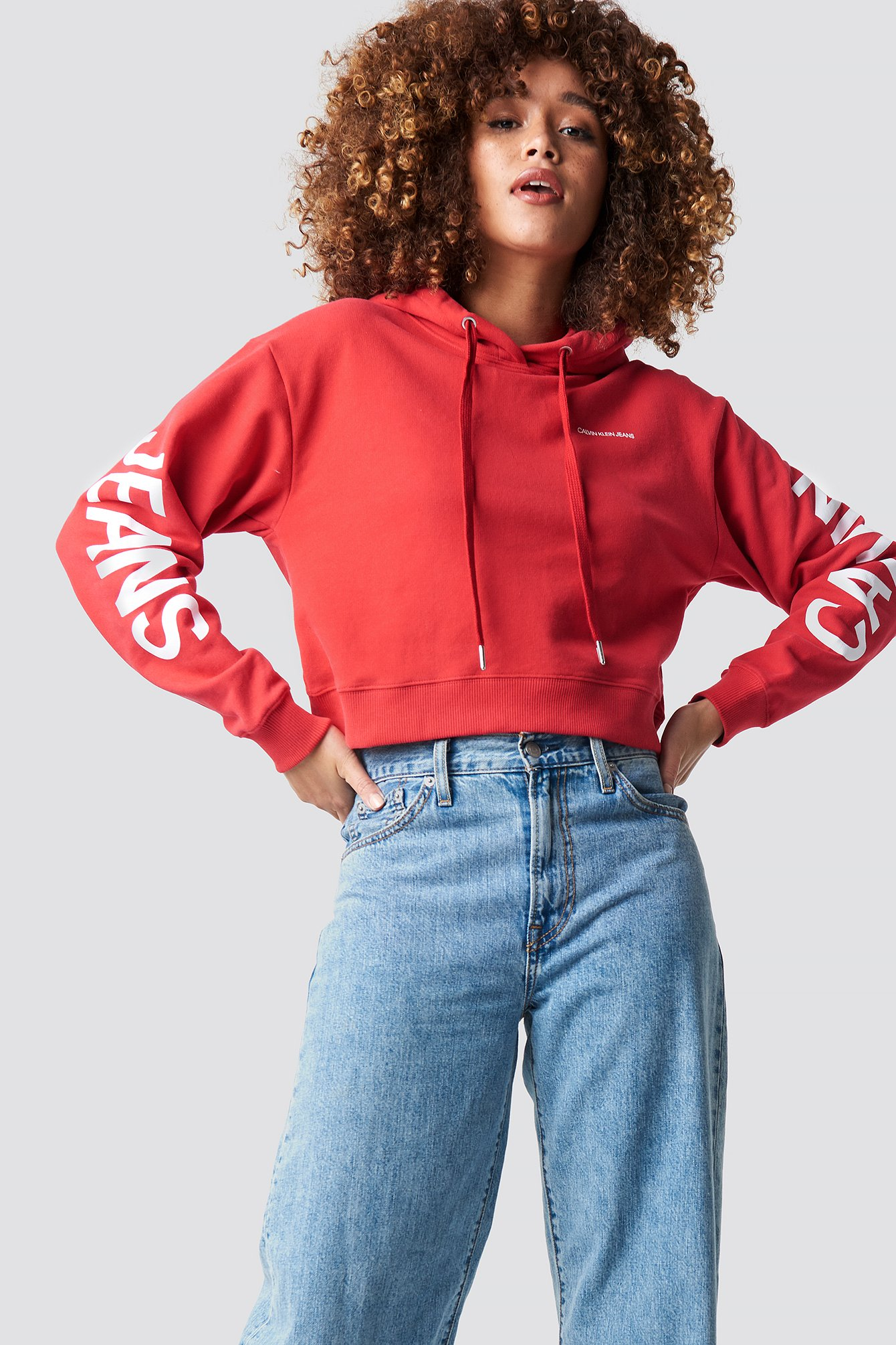 calvin klein -  Cropped Institutional Hoodie - Red