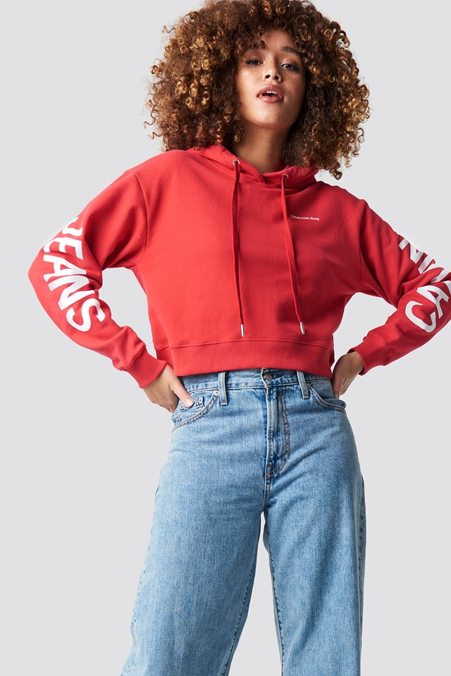 Cropped Institutional Hoodie Racing Red