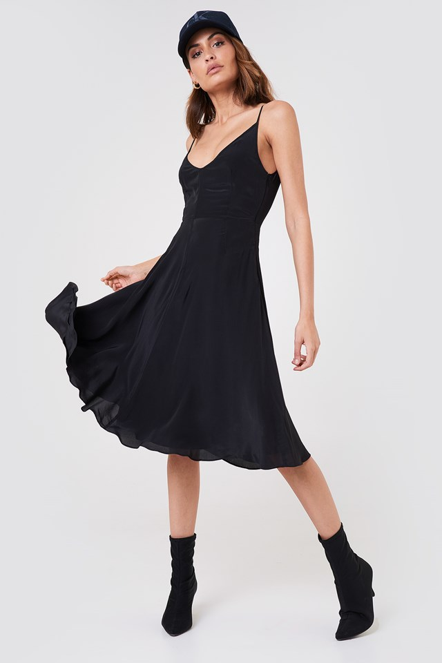 Deanna Crepe Prom Slip Dress CK Black