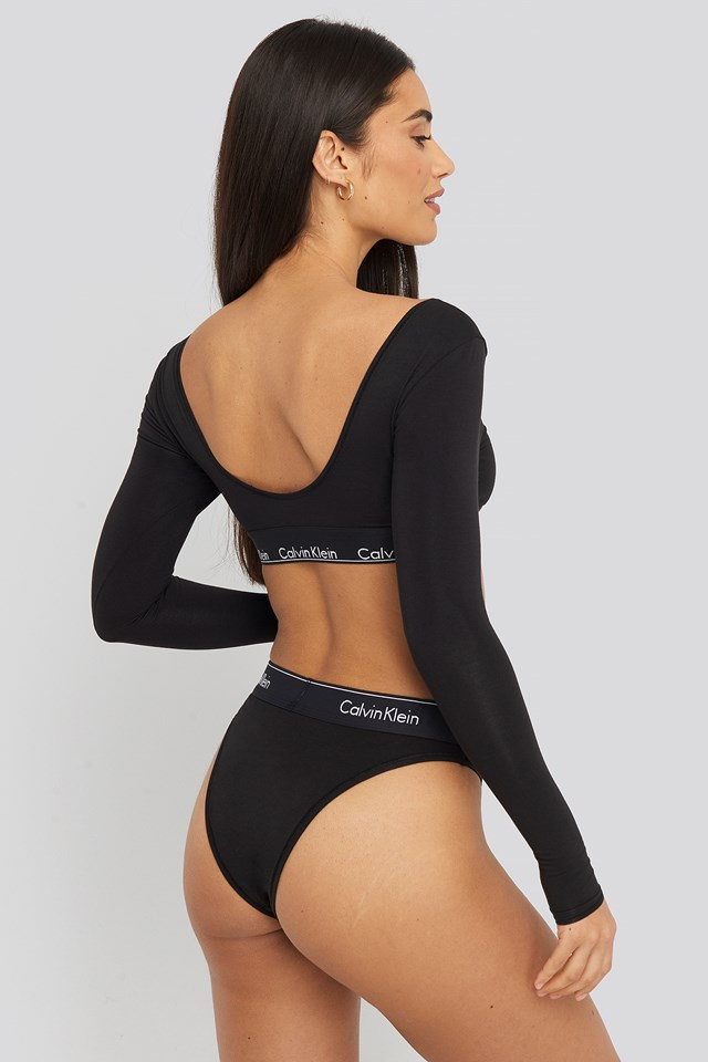 High Leg Tanga Black