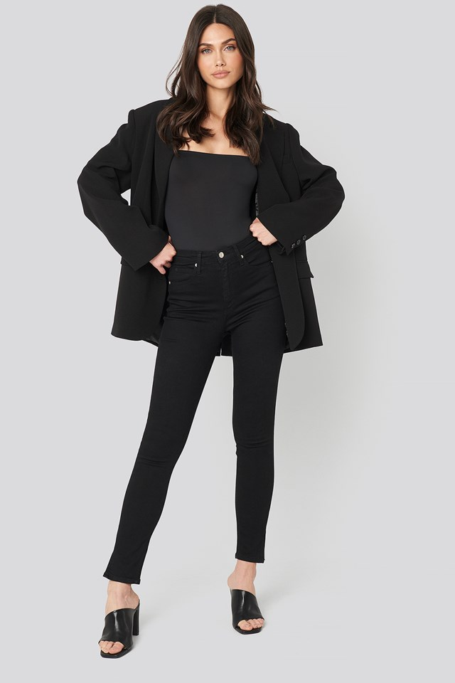 High Rise Skinny Ankle Black Split Hem